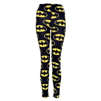 Womens Full Length Batman Leggings (Mtc) (8/10 (uk 12/14), Black/yellow)