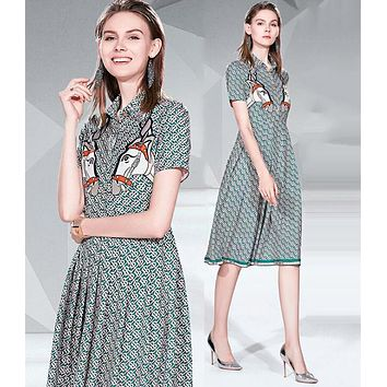 BURBERRY Fashion Women Slim Temperament Lapel Print Short Sleeve Dress