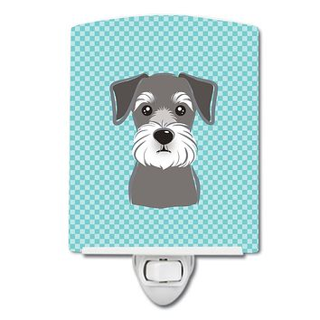 Checkerboard Blue Schnauzer Ceramic Night Light BB1144CNL