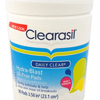 daily clear hydra-blast oil-free pads by clearasil 90 Pc
