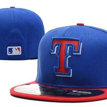 LMFON Texas Rangers New Era 59FIFTY MLB Hat Blue-Red