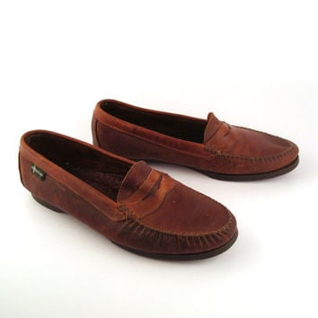 Eastland Penny Loafers Vintage 1980s Brown Shoes Dress Men's size 12