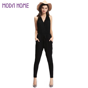 Sexy Rompers Women Jumpsuit Halter Neck Backless Sleeveless Overalls Pockets Elastic Waist Long Pants Playsuit Black SM6