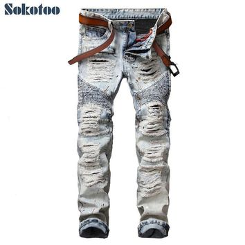 Sokotoo Men's casual painted holes ripped biker jeans for moto Vintage light blue slim straight denim pants Long trousers
