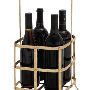 Golden Hue Classy Metal Wine Bottle Holder