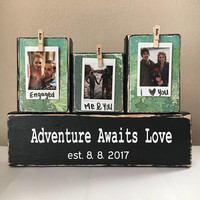 Wedding gift, adventure awaits love, unique gift ideas, mountain wedding, rustic wedding, bridal shower gift, outdoors wedding, mountain adv