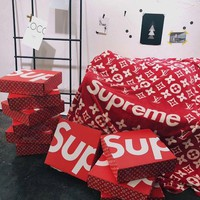 Tagre™ Supreme x LV Conditioning Throw Blanket Quilt For Bedroom Living Rooms Sofa