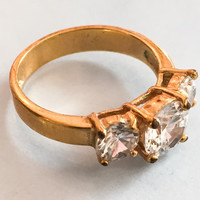 Crystal Glass Ring Vintage Costume Jewelry FALL SALE