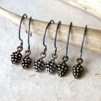 Pine Cone Earrings - Pinecone Earrings - Antiqued Silver, Brass or Copper Pine Cones - Woodland Fashion - Autumn Fashion