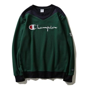 Champion New Fashion Women Men Loose Color Matching Embroidery Couple Sweater Top Sweatshirt Green I13828-1
