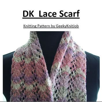 Double Knitting Lace Scarf Pattern by GeekyKnitJob on Etsy