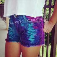 High Waist Tie Dye Custom Distressed Shorts