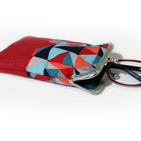 Sunglasses Case, Gift for Her, Eyeglasses Case, Single Glasses Case, Red Glasses Case, Kiss Lock Silver Metal Frame