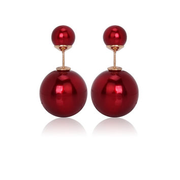 Gum Tee Mise en Style Tribal Earrings - Metallic Red