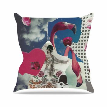 "Jina Ninjjaga ""Flamingo Attack"" Pop Art Outdoor Throw Pillow - Outlet Item"