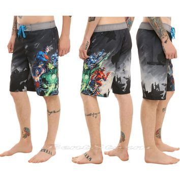 Licensed cool NEW DC  Justice League Heroes Chracters Mens Board Shorts Swim Trunks S