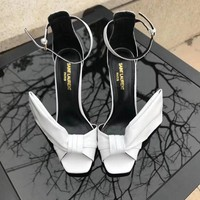 YSL White Women's High Heel Sandals Shoes