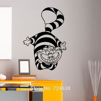 Alice In Wonderland Cheshire Cat Wall Art Sticker Decal Home DIY Decoration Wall Mural Removable Bedroom Decor Stickers 82x57cm