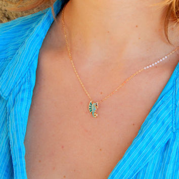Dainty gold sea horse necklace, seahorse, blue green epoxy, hippocampus, nature necklace, gold filled necklace, mint, tuorquise, gift
