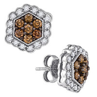 Cognac Diamond Fashion Earrings in 10k White Gold 0.9 ctw