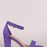 Bamboo Suede Ankle Strap Chunky Heel