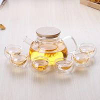 800ML New ECO-friendly Big Glass Teaset Kettle, Tea Set Including 6 Double-wall Cups + Heat-resistant Glass Pot