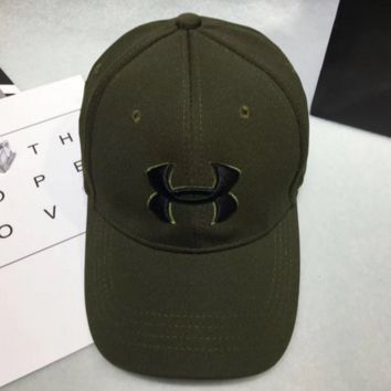 Under armour Women Men Contracted Sport Sunhat Logo Embroidery Baseball Cap Hat Army Green G