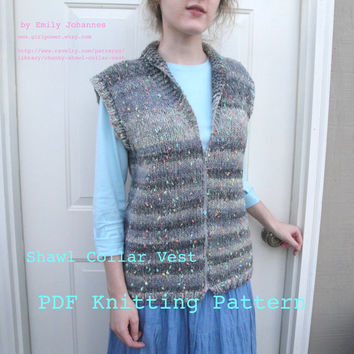 Shawl Collar Vest PDF Knitting Pattern, Chunky Bulky Yarn, Easy Knit, Sweater Vest with Zipper