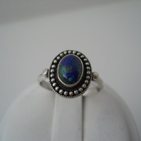 RESERVED Sterling Silver 925 Azurite Ring Oval Rope Bead Blue Green Stone Size 6.5 FAS 925