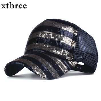 Trendy Winter Jacket Xthree summer female fashion Sequins baseball cap snapback hat for girl casquette gorras bone hip hop AT_92_12