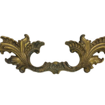 Ornate French Provincial Drawer Handles Pulls, Aged Patina Gold Brass Finish,  Vintage Hardware,