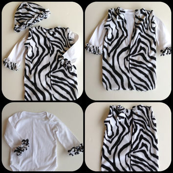 Newborn Baby Infant Fleece Sleeper Sack Zip Up Snap Winter Bedtime Soft Warm Cozy Wearable Blanket Black White Zebra