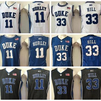 Duke Blue Devils 11 Bobby Hurley Jersey Men Basketball 33 Grant Hill College Jerseys Team Blue Alternte White All Stitched Free Shipping