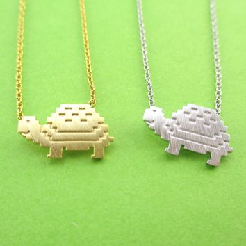 Adorable Pixel Turtle Tortoise Shaped Pendant Necklace in Gold or Silver