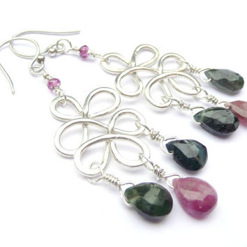 Tourmaline & Pink Rhodolite Garnet Sterling Silver Knot Earrings