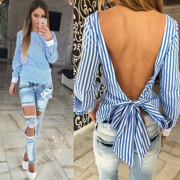 Long Sleeve Backless Bow Tie Blouse