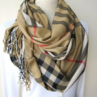 Camel tan brown classic  Plaid scarf plaid infinity by Scarves2012
