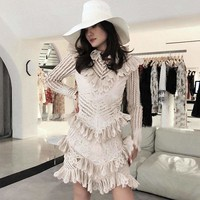 Ruffle Knitting High Neck Hollow Out Long Sleeve  Mini Dress