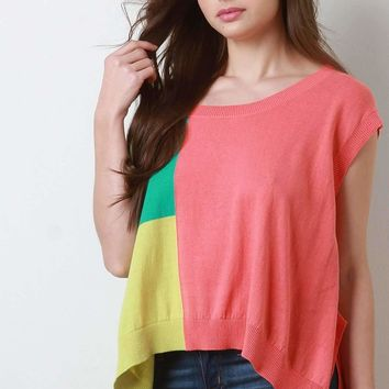 Colorblock Cap Sleeves Boxy Side Slit Sweater
