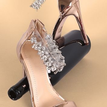 Metallic Rhinestone Embellished Transparent Ankle Strap Heel