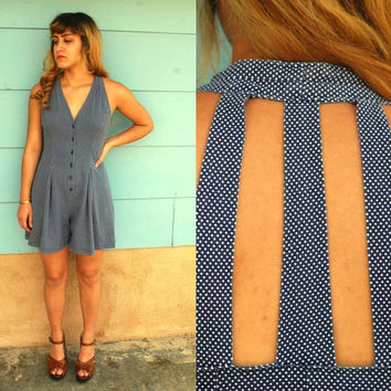 1970s navy and white polka dot romper with by MediaVueltaVintage