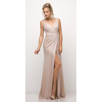 Ruched V-Neck Evening Gown with Front Slit Blush