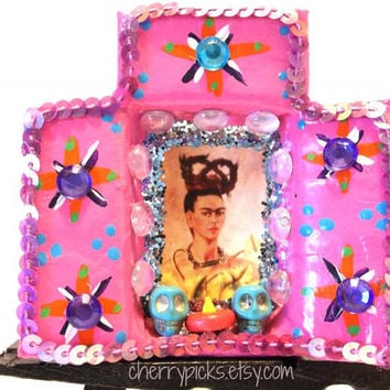 Frida Kahlo Matchbox Paper Mache Shrine-Day of the Dead Decoration- Dia de los Muertos Nicho