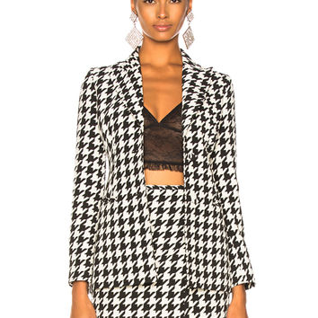 OFF-WHITE Pied de Poule Skinny Jacket in All Over Houndstooth | FWRD
