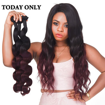 Today Only Ombre Brazilian Body Wave Bundles Non-remy Human Hair Extensions Burgundy Two Tone Human Hair Weave Bundles 1b 99j