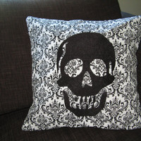 $22.00 Decorative Pillow Cover Black Embroidered Skull 16 x by LolaJeans