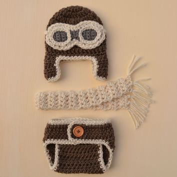 Crochet Baby Aviator Outfit Newborn Aviator Photo Outfit
