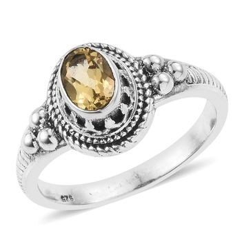 Brazilian Citrine Sterling Silver Solitaire Ring