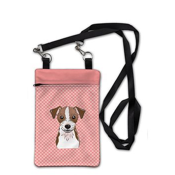 Checkerboard Pink Jack Russell Terrier Crossbody Bag Purse BB1202OBDY