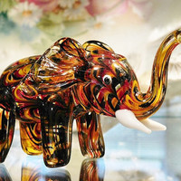 Vintage Lenox Elephant Handblown Art Glass 1980s Collectible Animal Figurine Sculpture